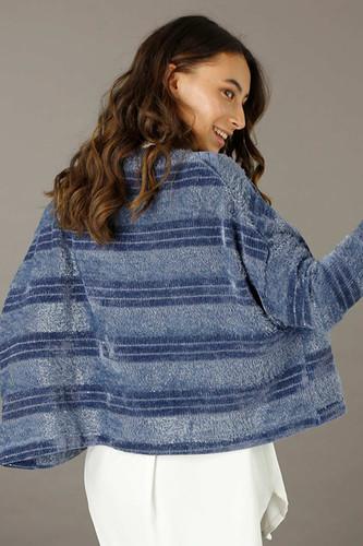 Chambray Fluffy Stripe Wonder Cardigan - FINAL SALE