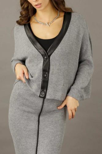 Grey Rib Lexi Cardigan - FINAL SALE
