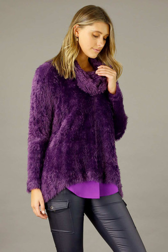 Purple Plush Cowl Overtop