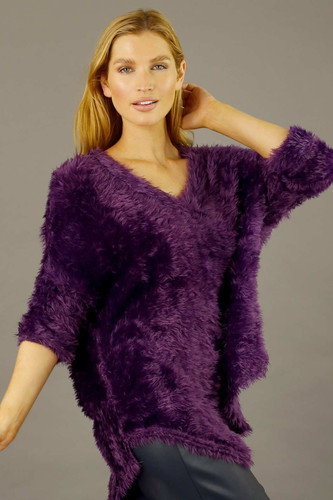 Purple Plush Vee Jumper - FINAL SALE