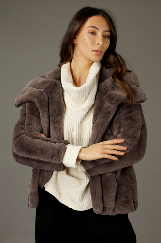 Brown Faux Fur Jacket