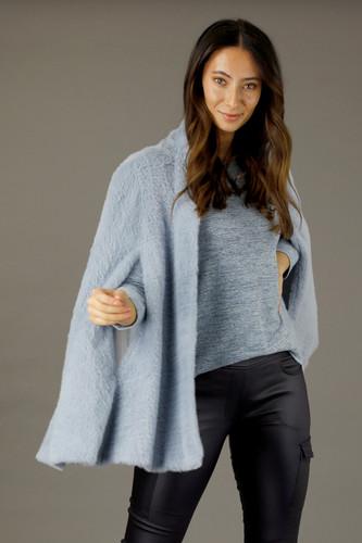 Blue Elizabeth Faux Fur Cape