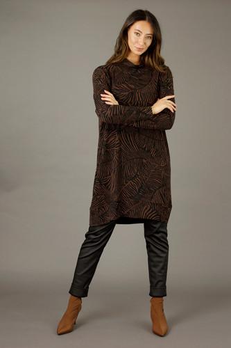 Black Brown Woolly Print Dress