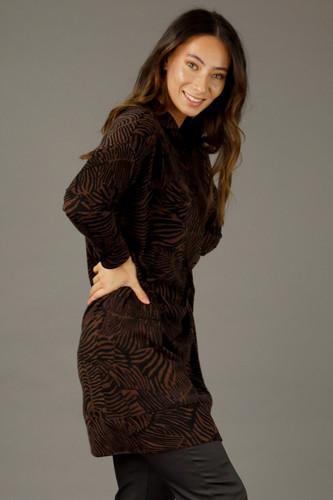 Black Brown Woolly Print Dress - FINAL SALE