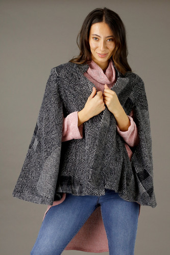 Charcoal Elizabeth Fur Cape - SALE