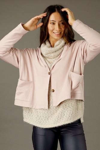 Light Pink Snug Hooded Cardigan