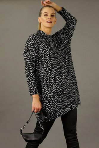 Black/Silver Print Woolly  Dress
