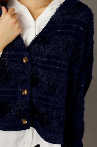 Navy Fluffy Stripe  Wonder Cardigan - SALE