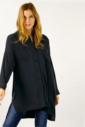 Black Soft Touch Maxi Shirt