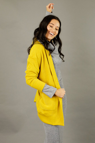 Yellow Rib Oversize Coatigan