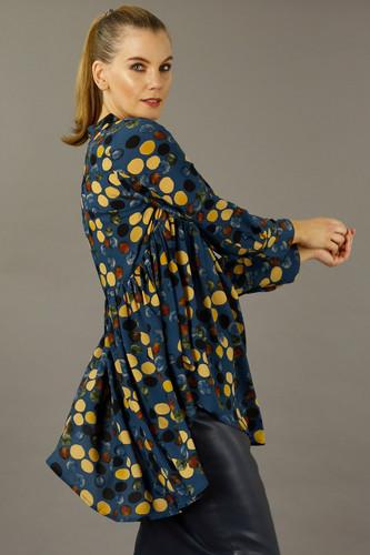 Blue Spotty Nano Babydoll Shirt