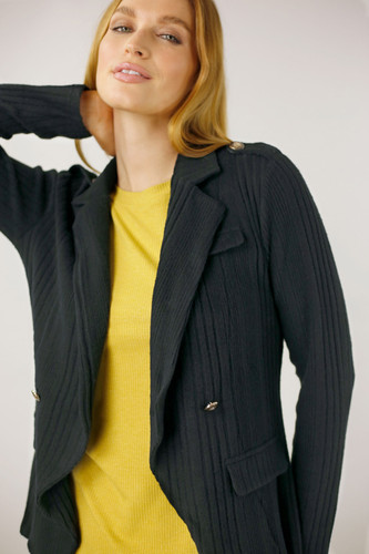 Black Rib Willow Military Jacket