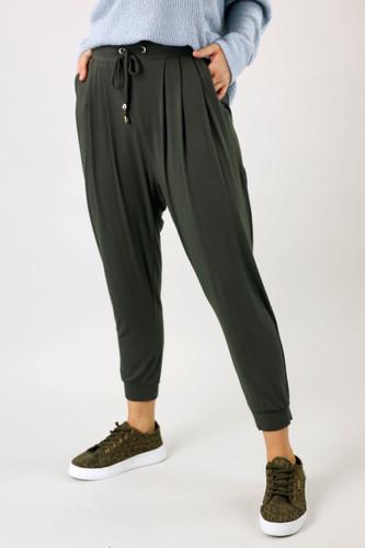 Khaki Bamboo Slouch Pant