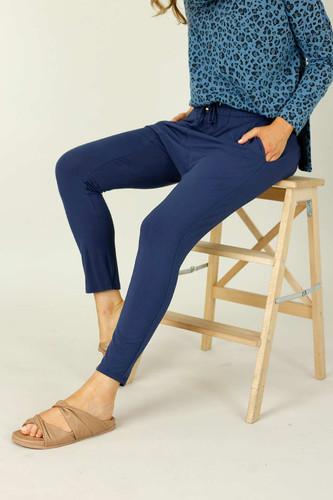 Navy Bamboo Drop Crotch Pant - SALE