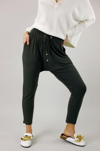 Khaki Bamboo Drop Crotch Pant - FINAL SALE