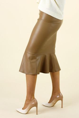 Mocha Faux Leather Flounce Skirt