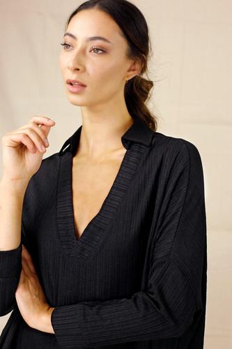 Black Shan Rib Pullover - FINAL SALE