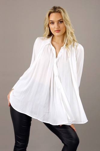 White Seta Drape Shirt