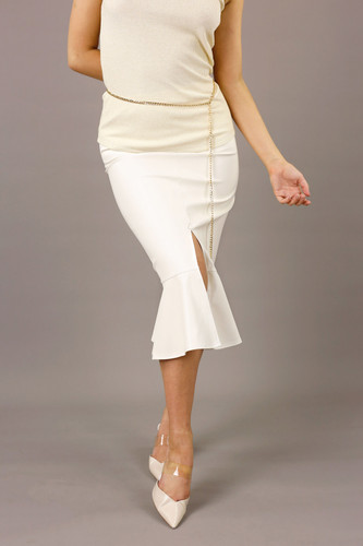 Ivory Faux Leather Flounce Skirt