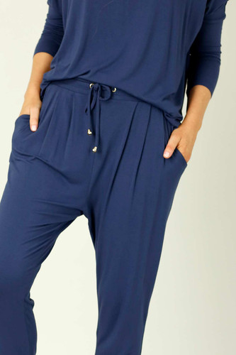 Navy Bamboo Slouch Pant