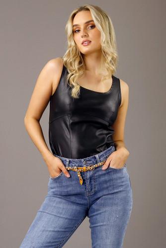 Black Faux Leather Bustier Cami