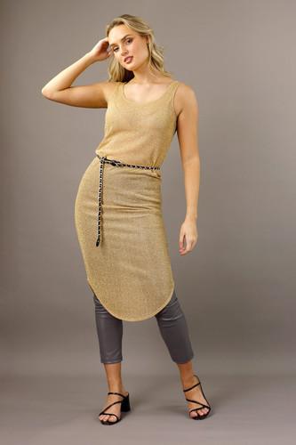 Gold Shirtail Lurex Slip