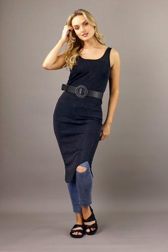 Black Shirtail Lurex Slip