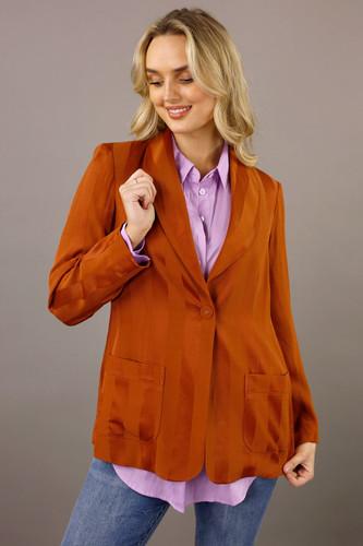 Burnt Orange Satin Stripe Shawl Blazer
