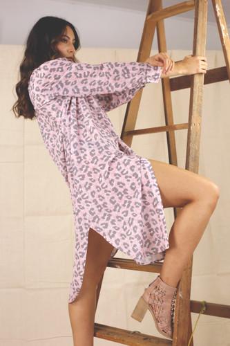 Pink Animal Silky Shirt Dress