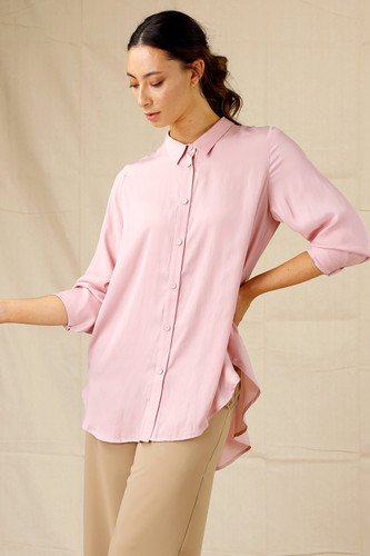 Soft Pink Seta Boyfriend Shirt