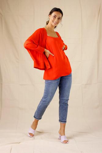 Orange Silky Cardigan