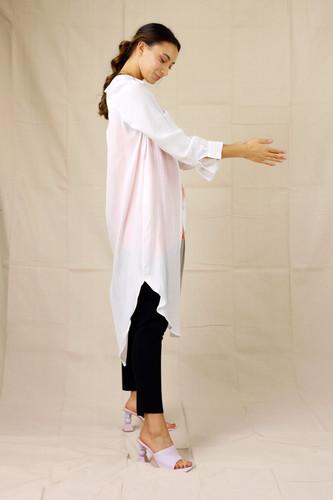 White Silky Shirt Dress