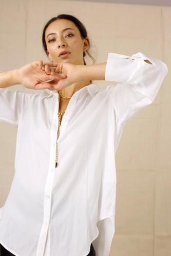 White Seta Boyfriend Shirt