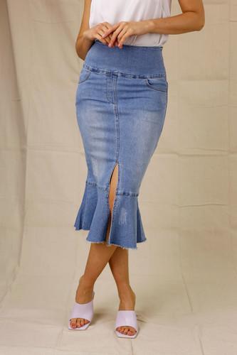 Sky Denim Flounce Skirt
