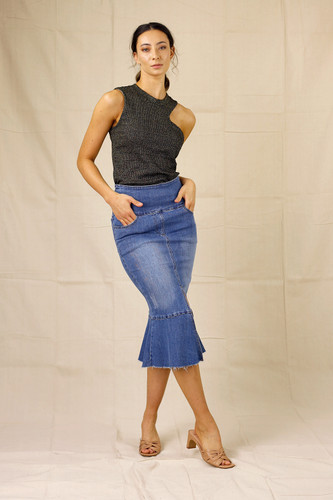 Chambray Denim Flounce Skirt