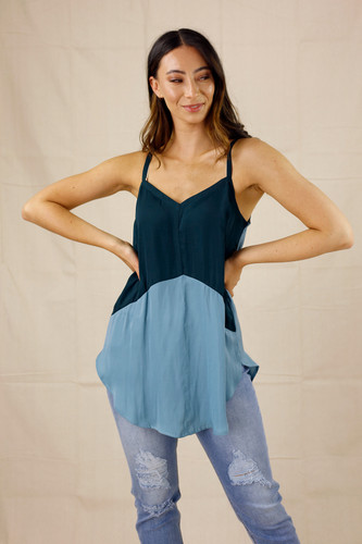 Teal Soft Touch Splice Cami