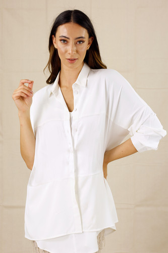 Ivory Soft Touch Splice Shirt