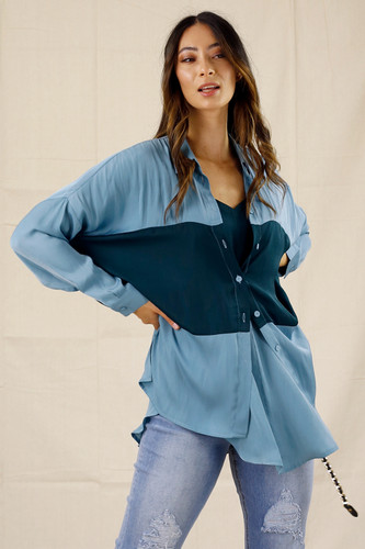 Teal Soft Touch Splice Shirt