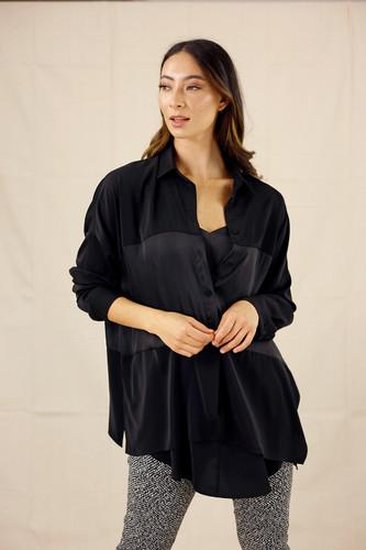 Black Soft Touch Splice Shirt