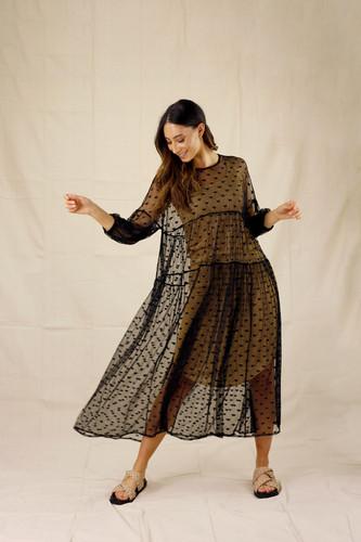 Black Hearts Tiered Mesh Dress