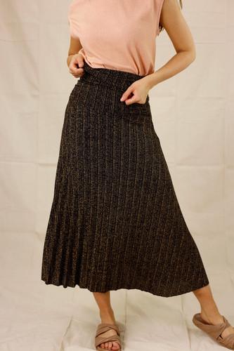 Gold Lurex Pleat Skirt