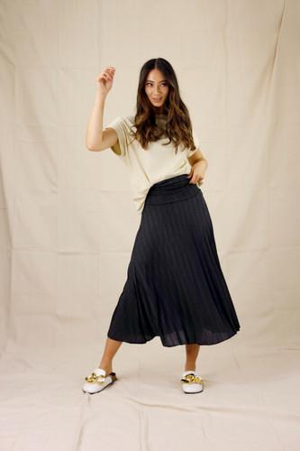 Black Lurex Pleat Skirt