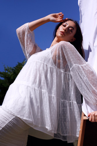 White Pinspot Tiered Mesh Top