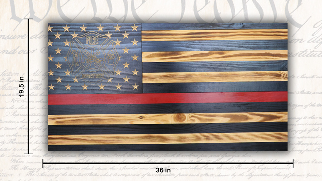 Large Rustic Red Line American Flag