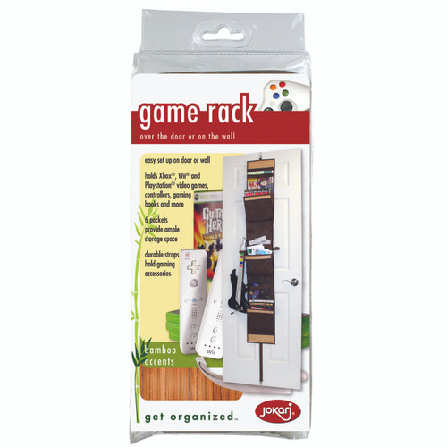 Holds Xbox®, Wii® and Playstation® video games, controllers, gaming books and more