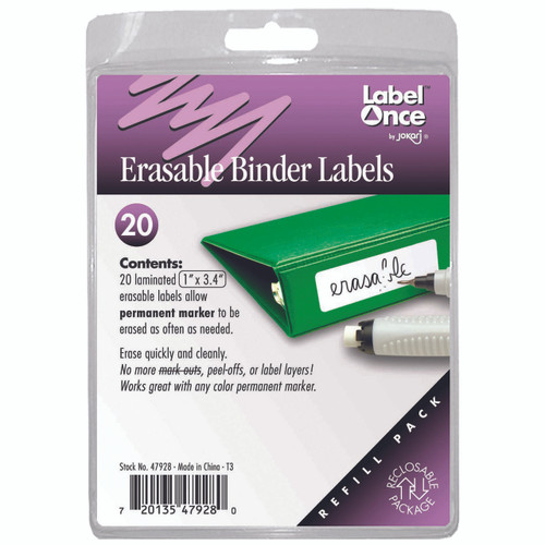 "Label and organise school and office binders with Erasable Binder Labels. These paperless labels for binders 1"" and larger have a special adhesive that resists the ageing process."