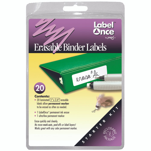 Label and organise school and office binders with Erasable Binder Labels.