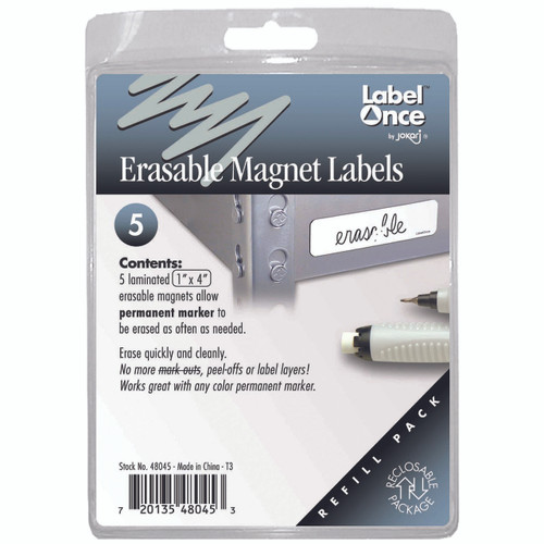 """Keep your garage, shop, and office neatly organised with Erasable Magnet Labels. Think of them as """"mobile labels."""" One of the easiest ways ever to maintain organised labels on metal surfaces."""