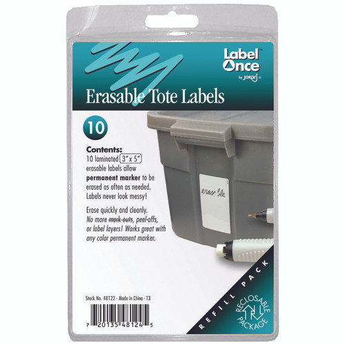 "10 laminated 3"" x 5"" erasable labels allow permanent marker to be erased as often as needed. Labels never look messy!"