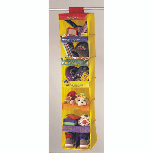 `- Save time organising kids clothes for the week - Encourages children to organise their gear - Fun colours brighten any closet - No assembly, simply fasten to closet rod - Hangs from closet rod with hook and loop fasteners - Durable nylon material